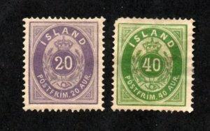 Iceland - Sc# 13 & 14 MH (# 14 rem/ part gum)     -      Lot 0421165