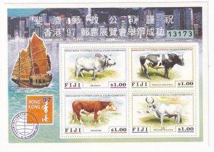FIJI HONG KONG 97 STAMP EXHIBITION COWS  MNH S/SHEET