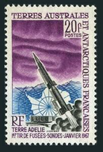FSAT 29,MNH.Michel 38. Launching of 1st space rocket from Adelie Land,1967.Map.