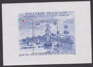 French Polynesia C216 Sailing Ship Souvenir Sheet MNH VF