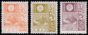 Japan Scott 172, 174, 176 (1930) Mint LH VF, CV $116.00 C