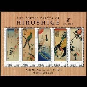 PALAU 1997 - Scott# 431 Sheet-Hiroshige Ptgs NH