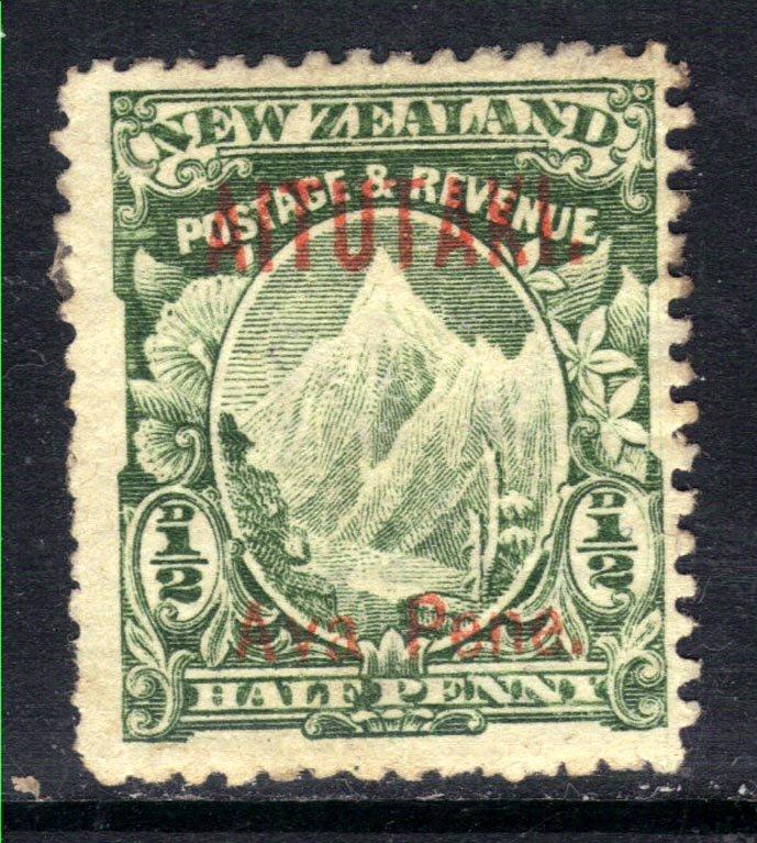 Aitutaki 1903 – 11 KEV11 1/2d Green MM Ovpt SG 1 ( F8 )