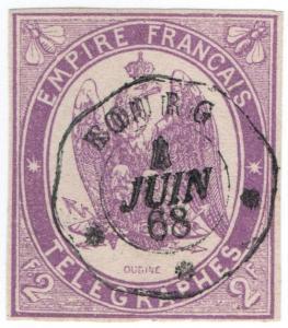 (I.B) France Telegraphs : 2Fr Lilac (1868)
