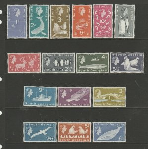South Georgia 1963/9 Defs LMM complete incl £1 Blue SG 1/16