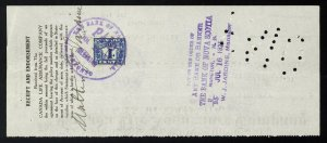 C18 Canada Life Assurance Co. bank draft, 1925 revenue stamp Van Dam #FX39