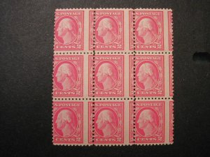 US #499 block of 9 with certificate, misregistered perfs, MNH
