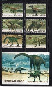 CUBA Sc# 5753-5759  DINOSAURS prehistoric animals CPL SET of 6 + SS  2016 MNH