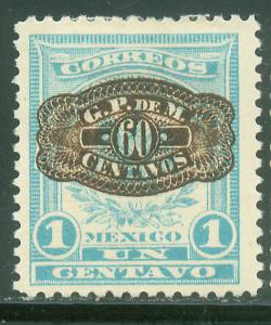 MEXICO 591, 60 on 1c Barril Surcharge. Unused H OG. F-VF.