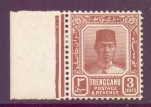Malaya Trengganu Scott 23 - SG29, 1921 Sultan 3c Brown MH*