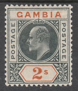 GAMBIA 1904 KEVII 2/- WMK MULTI CROWN CA TOP VALUE