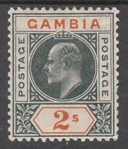 GAMBIA 1904 KEVII 2/- WMK MULTI CROWN CA TOP VALUE