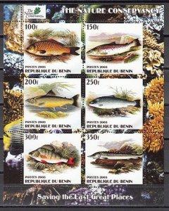 Benin, 2003 Cinderella issue. Various Fish sheet of 6