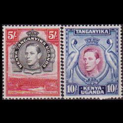 KENYA UGANDA TANGANK 1944 - Scott# 83-4 King 5-10s NH