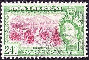 MONTSERRAT 1955 QEII 24c Carmine-Red & Green SG145 FU