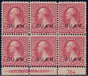 GUAM #2 PLATE #784 F-VF UNUSED BLOCK OF 6 WITH IMPRINT CV $300.00 BQ8506