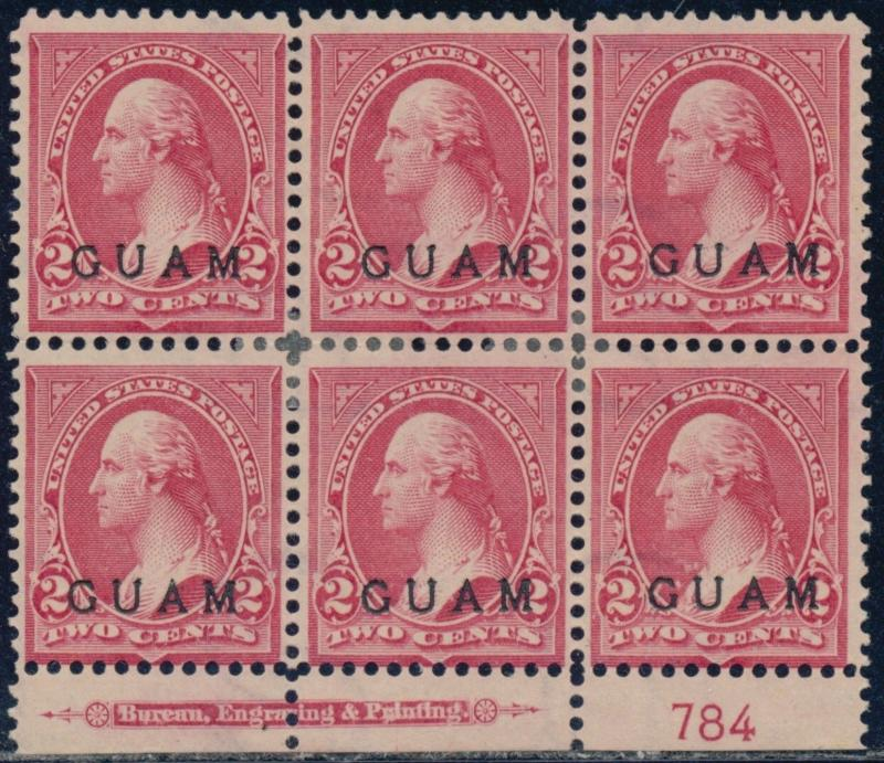 GUAM #2 PLATE #784 F-VF UNUSED BLOCK OF 6 WITH IMPRINT CV $300.00 BQ8506