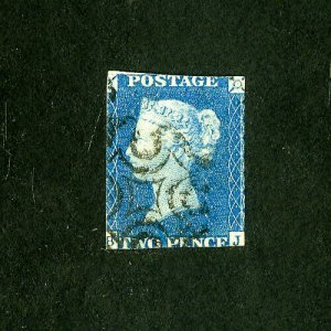 Great Britain Stamps # 2 AVG Light cancel Scott Value $700.00