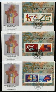 UN 1990 45th ANNIVERSARY  WFUNA CACHET BY ROBERT PEAK S/S  ON 3FIRST DAY COVERS