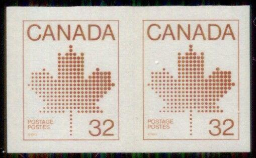 CANADA #951a 32¢ brown, Imperf Pair, og, NH, VF, Scott $160.00