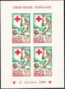 Togo - 1959 - Scott #B14a - mint Souv. Sheet - Red Cross