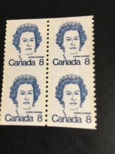 Canada USC #604vi Block of Two Vert. Pairs Mint Cat. $70. 8cUnsevered Imp. Hor.