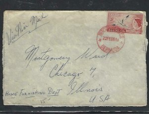 BERMUDA COVER (P0210B) 1961  QEII 8D A/M COVER PERROT OFFICE IN RED CDS TO USA