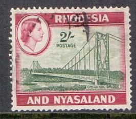 Rhodesia and Nyasaland  #167  1959 used 2s. Chirundu bridge
