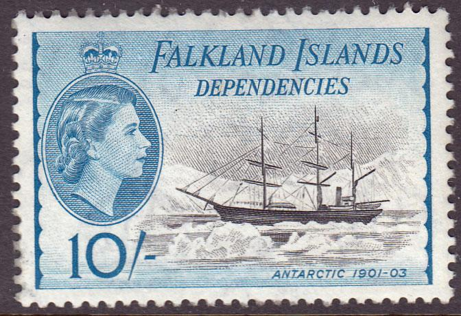 Falkland Island Dependencies QEII 1954 10/- 10s Black Blue SGG39 MNH UMM