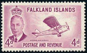 Falkland Islands 1952 4d Reddish Purple SG177 MH