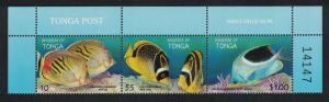 Tonga Fishes International Year of the Ocean strip of 3v Control Number