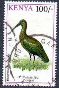 Kenya Scott #610 100sh Birds, Hadeada Ibis (1993) used