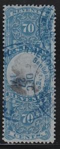 R117 F-VF revenue stamp neat blue cancel nice color scv $ 85 ! see pic !