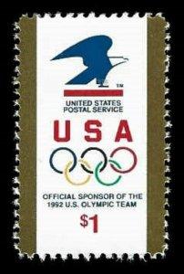 US #2539 $1.00 USPS Logo & Olympics Rings, MNH, (PCB-1)