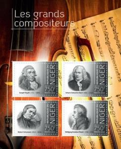 Niger - 2013 Great Composers of the World  4 Stamp Sheet 14A-338