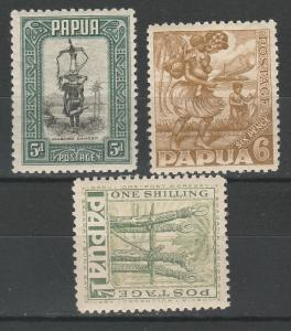 PAPUA 1932 PICTORIAL 5D 6D AND 1/-
