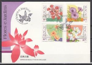 Macau, Scott cat. 652-655. Various Flowers issue. First day cover.