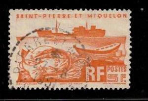 ST PIERRE & MIQUELON Scott # 337 Used 2 - Fishing Trawler & Fish