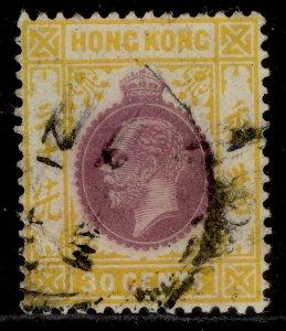 HONG KONG GV SG127, 30c purple & chrome-yellow, USED.