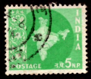 India 5np Map of India 1958 SG.402, Sc.305 Used (#04)