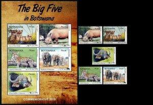 Botswana 2018 wild animals elephants wild cats set+s/s  MNH