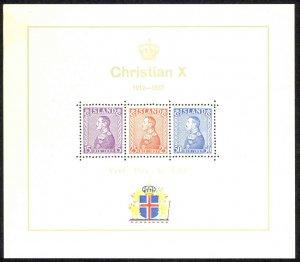 Iceland Sc# B5 MH Souvenir Sheet 1937 King Christian X