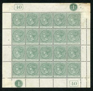 St Christopher SG11 1882-90 1/2d dull green complete pane of twenty