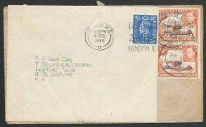 KENYA UGANDA TANGANYIKA 1949 cover to UK, redircted with label and 2½d.....59429