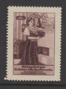 Germany- Koenigsberger Coal Brikette Company Advertising Stamp - NG