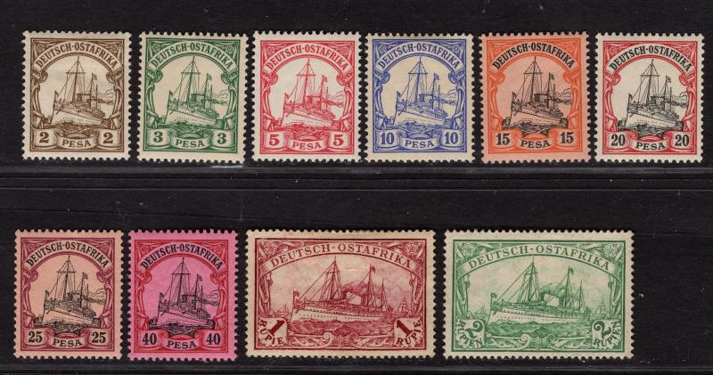 $German East Africa Sc#11-20 M/LH-NH/VF, 6 are NH, missing #21, Cv. $153
