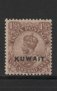 KUWAIT #3  1923  1 1/2a   KING GEORGE VI OVERPRINT  MINT  VF NH  O.G  aa