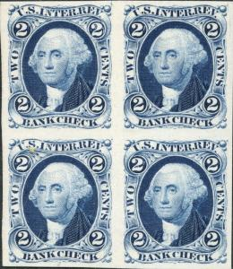 #R5P4 BLOCK OF 4 BLUE PLATE PROOF ON CARD CV $140.00 BN6716