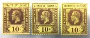 Malaya Straits Settlements KGV 1912-16 10c Varieties MCCA Mint SG#202 M3108