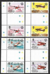 British Antarctic Territories BAT Planes Scott 117-120 VF NH Gutter Prs